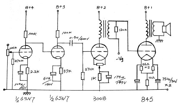 了一个6sn7两级直耦共阴放大接着阻容耦合300b的电路